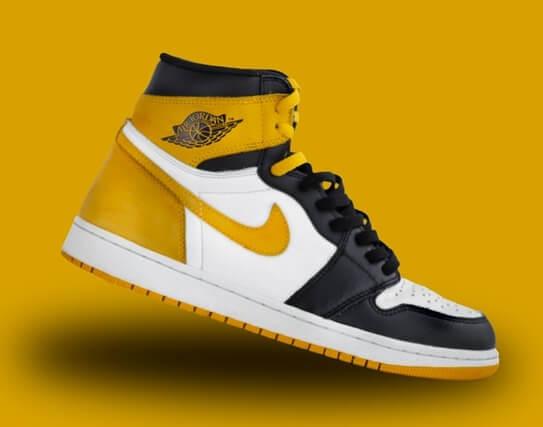 Sneakers Air Jordan jaune moutarde